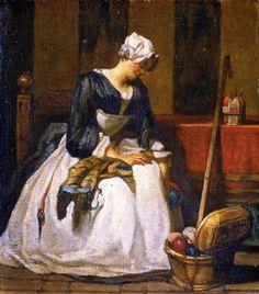 La brodeuse. Huile sur toile 1735 de Jean Siméon CHARDIN (français 1699 - 1779)