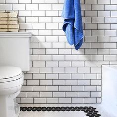 Bathroom with Black and White Hex Tile Floor