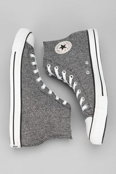 Hey, look! Sunday go to meetin' Chucks! These Converse Chuck Taylor high top sneakers have a classy, dressed up sneaker look in classic Chuck Taylor high tops. Love me some dressy Converse. Converse All Star, Converse Haute, Cool Converse, Converse Style, Converse Sneakers, Converse Chuck Taylor All Star, High Top Sneakers, Cute Shoes, Me Too Shoes