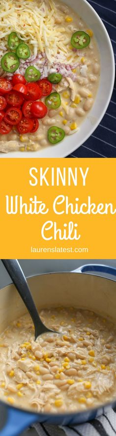 Skinny White Chicken Chili!! This recipe will wiggle its way onto your menu because that's how AMAZING it is!! And ready in 20 minutes. #Easydinners #Comfortfood