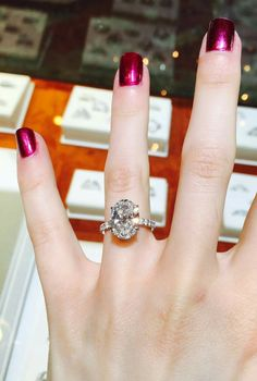 Perfect Oval Engagement Ring! Love the metallic nails too