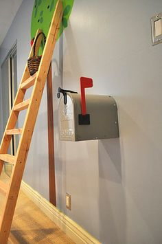 gray mailbox with red flag. Want this for me to write love notes to my little man