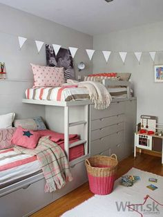 IKEA stuva loft bed is a complete solution for your kids room, include desks, cabinets and open shelving units Bunk Beds With Stairs, Kids Bunk Beds, Loft Beds, Bunk Beds For Girls Room, Bunk Rooms, Cool Bunk Beds, Girl Room, Girls Bedroom, Bedroom Decor