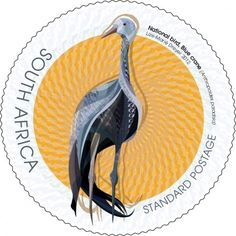 South African Blue Crane stamp (the national bird of South Africa) Crane, Union Of South Africa, Office Stamps, African Symbols, South African Design, World Birds, National Symbols, African History, Vintage Labels