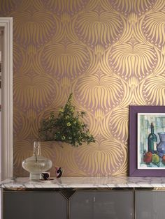 """What's new with Farrow & Ball? Farrow & Ball adds a touch more glamour and drama to nine of their """"best-loved"""" designs with a layer of metallic: gold, silver, copper and gilver (a mix of gold and silver). Lotus Wallpaper, Metallic Wallpaper, Paper Wallpaper, Home Wallpaper, Colorful Wallpaper, Luxury Wallpaper, Wallpaper Decor, Farrow Ball, Farrow And Ball Paint"""