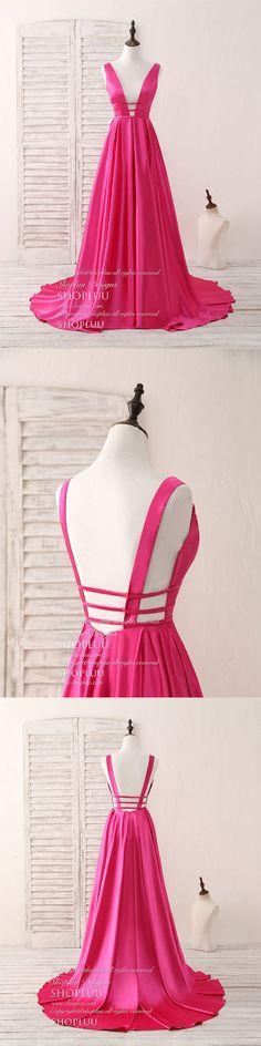 Simple v neck satin long prom dress backless evening dress