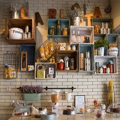 reclaimed recycled wood crates for storage shelves in kitchen