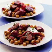Warm chickpea, chorizo & pepper salad -- A rough-and-ready salad bursting with Mediterranean flavours - great as a starter or main Tapas Recipes, Bbc Good Food Recipes, Quick Recipes, Cooking Recipes, Tapas Ideas, Cheese Recipes, Shrimp Recipes, Appetizer Recipes, Party Recipes