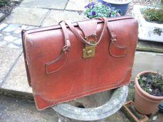 Original vintage/retro mans tan leather briefcase with unusual strap handles.