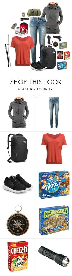 """Keep it light.."" by bronwyn-black ❤ liked on Polyvore featuring Yves Saint Laurent, The North Face, Project Social T, adidas Originals, Clips, INC International Concepts, Caliber, Streamlight, zombies and thewalkingdead"