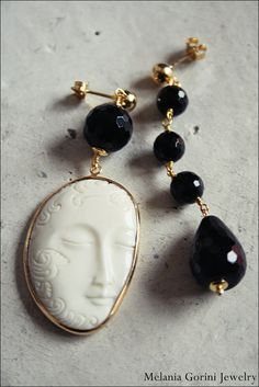 Vermeil earrings with faceted onyx and Buddha bone cabochon - Ethnic style bone cabochon from Indonesia, sterling silver findings by MelaniaGoriniJewelry, based in Pisa, Italy, and selling on Etsy. These gorgeous earrings have sold.