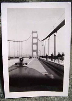 June 2, 1937 Small Real Photo Driving Over Golden Gate Bridge Opening Week San Fancisco California