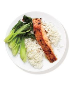 Spicy Salmon With Bok Choy and Rice Recipe from realsimple.com. #myplate #veggies #wholegrain
