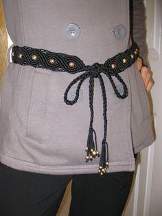 Black beaded  Macrame Belt - Woven cord Belt - Hand Painted Wooden Beads - Belt for Women- Macrame