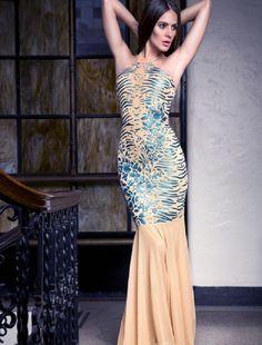 Baccio Lara Painted Mesh Long Dress