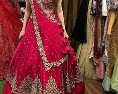 Indian Lehenga, Half Saree Lehenga, Lehnga Dress, Bridal Lehenga Choli, Red Lehenga, Lehenga Wedding Bridal, Lehanga Bridal, Bridal Lehenga Online, Costumes