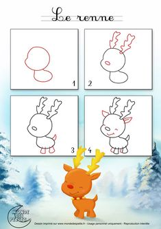 noel dessin to draw a Christmas reindeer Christmas Doodles, Christmas Drawing, Christmas Paintings, Christmas Art, Xmas, Reindeer Christmas, Drawing Lessons, Art Lessons, Doodle Drawings