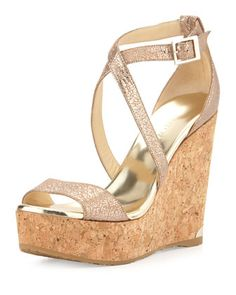 Portia+Metallic+Crisscross+Wedge+Sandal,+Nude+by+Jimmy+Choo+at+Neiman+Marcus.
