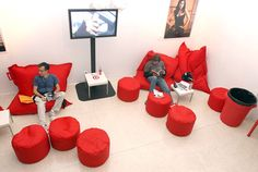 Beanbag chairs plus stools that double as chairs or tables.
