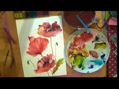 ▶ watercolour poppies oct 2013 - YouTube