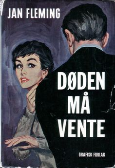 """Cover artwork for the first Danish edition of the James Bond 007 book """"Doden Ma Vente"""" (Goldfinger) by """"Jan"""" Ian Fleming. Published by Grafisk Forlag 1961, cover design by William Petersen."""