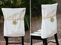 DIY Chair cover idea! Might have to copy this. :)