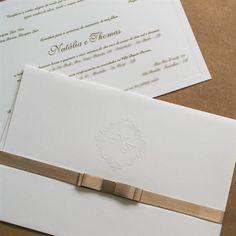 Convite de casamento tradicional - por Papel e Estilo - Loja Online - www.lojadeconvite.com.br