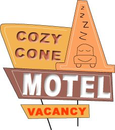 sally's cozy cone motel sign