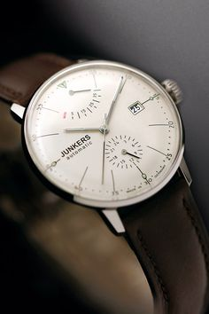 The Junkers Bauhaus Power Reserve Automatic Watch is a classic must-have timepiece. Made with Hesalite crystal, this watch features a crystal exhibition back. Skeleton Watches, Bracelet Cuir, Beautiful Watches, Luxury Watches, Rolex Watches, Diamond Watches, Fossil Watches, Cool Watches, Simple Watches