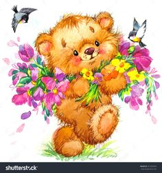 Find Teddy Bear Flower Background Watercolor Art stock images in HD and millions of other royalty-free stock photos, illustrations and vectors in the Shutterstock collection. Cute Illustration, Watercolor Illustration, Watercolor Art, Kids Background, Watercolor Background, Birthday Background, Cute Animal Drawings, Cartoon Drawings, Bear Images