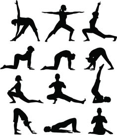 A woman performing various yoga poses in silhouette. Yoga Drawing, Drawing Poses, Yoga Stick Figures, Playroom Wallpaper, Yoga Position, Stencil, Mudras, Silhouette Png, Black Girl Art