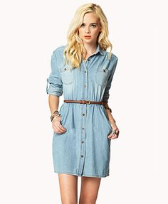 The perfect denim dress! Would look better with a wide belt that ... caa88b010