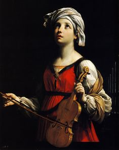 """St Cecilia by Guido Reni, 1606 - I always find it interesting how artists project their idea of """"the beautiful woman"""" onto their representations of saints... in this case, the patron saint of musicians and Church music."""