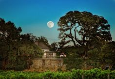 Sharing Jack London's final adventure: At Jack London State Historic Park in California's Sonoma Valley (aka the Valley of the Moon), a full moon rises above famed author Jack London's cottage, a 500-year-old oak tree that he often sat under while writing, and winery ruins. (photo by Tom Deininger/Jack London Park)