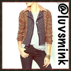 FREE PEOPLE RED CARDIGAN Adorable crop cardigan from Free People, with open split back, three snap front, and casual collar.  Great for Fall evenings to layer with most anything.  A bounty of colors including black, grey, Ivory, and a red sienna brick.  Color is called Red Combo, but is more of a Sienna Red.  8% Acrylic, 19% Nylon, 73% Wool Wash cold, lay flat to dry. Size LRG will accommodate sizes 10/12, and larger 8's. Purchased NEW, and never worn. NWOT NO HOLDS OR TRADES PRICE IS FIRM…