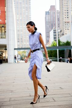 Giovanna Battaglia in a sexy shirt dress