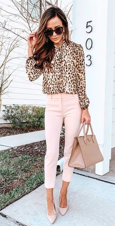 #spring #outfits  brown and white leopard print long-sleeved blouse