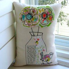 Fabric Flower Pillow Fabric Flowers Bird Pillow  от tracyBdesigns