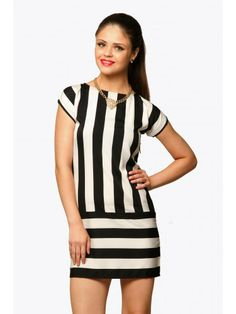 Stripe Along Dress Black-And-White-Stripes