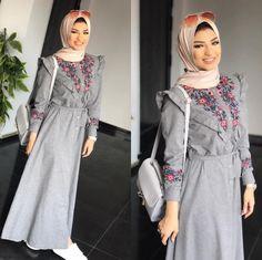Pinterest @adarkurdish Cute feminine, embroidered grey dress, modest muslimah hijab outfit