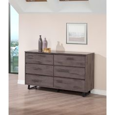 Complete your furniture collection with this Live Edge dresser. This six-drawer chest has more than enough space for all of your clothing and other essential items, all in a stylish distressed-meets-modern package.