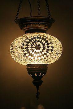 EXTRA LARGE TURKISH MOROCCAN MOSAIC HANGING LAMP SHADE PENDANT LANTERN