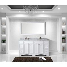 Website Picture Gallery  inch Redondo White Double Modern Vanity with Integrated Sinks by Pacific Collection