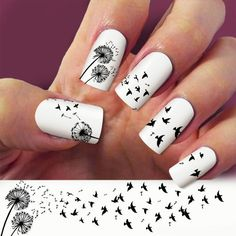 3 Strip Dandelion nail art, nail decals, Nail Art design, Water Slide... ($4.99) ❤ liked on Polyvore featuring beauty products, nail care, nail treatments, nails, beauty and makeup