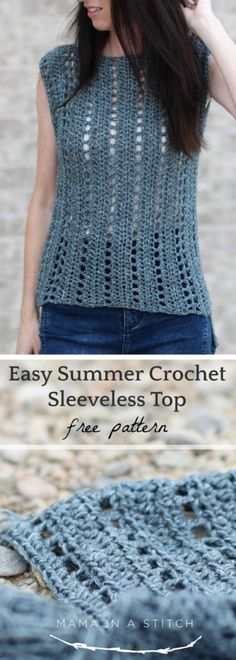 """""""Vintage"""" Easy Crochet Sleeveless Top Pattern – Mama In A Stitch"""