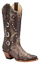 Corral Ladies Distressed Brown w/ Conchos & Studs Wing Tip Snip Toe Western Boot