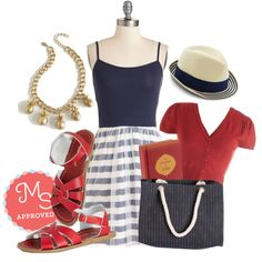 In this outfit: Salt Water Sandal in Red, Pliés and Thank You Dress in Navy Stripes, There's an Apple for That Cardigan in Red, Variety is the Slice of Life Necklace, View and Me Hat, The Little Book of Yoga, In the Sea Small Hours Bag #nautical #america #redwhiteblue #summer #cute #ModCloth #ModStylist #ootd #fashion