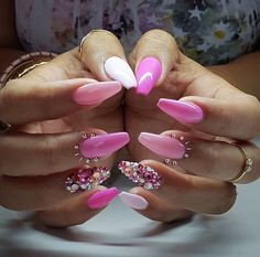 Lovely Pink Nails with Glitters