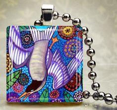 BIRD JEWELRY Necklace Pendant Charm Glass Tile Silver Flowers Tree Folk Art