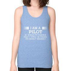I AM A pilot Unisex Fine Jersey Tank (on woman)